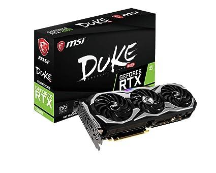 MSI GeForce RTX 2080 Duke 8G OC - Tarjeta gráfica Enthusiast (Zero FROZR, Torx Fan 2.0, PCI-E x16 3.0, 8 GB DDR6, 256-bit, 7000 MHz Memory Clock ...