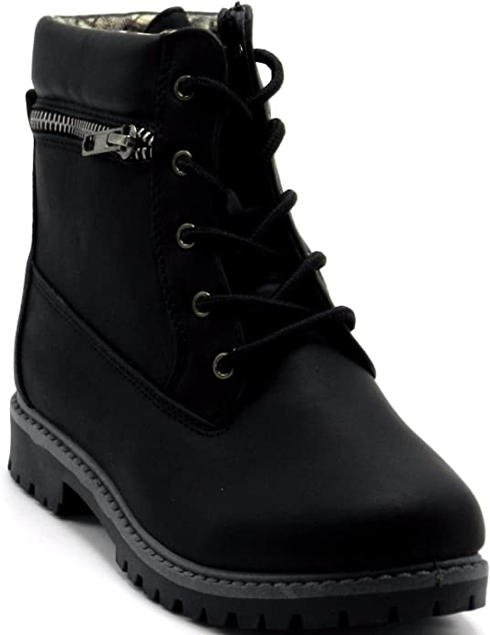 Fashion Children Mid Top Ankle Boots Girls Kids Round Toe Lace Up Comfort Shoes