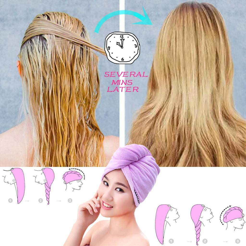 Yliquor Dry Hair Hat Soft Microfiber Wrapped Towels Bath Hair Cap Fasten Salon Anti Frizz Super Absorbent Quick Magic Dry Hair Turban for Drying Curly Long /& Thick Hair
