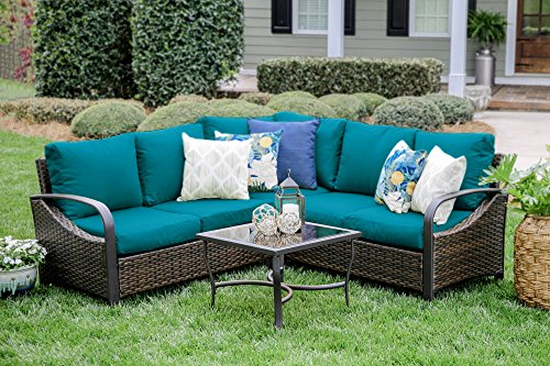 Leisure Made Trenton 4 Piece Outdoor Sectional, Peacock Fabric