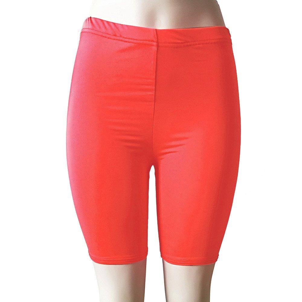 Womens Shorts, Libermall Women's Workout Leggings Elastic Solid Fitness Sport Yoga Trousers Short Pants Watermelon Red