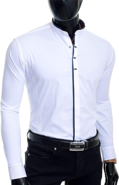 D/&R Fashion Homme Chemise /à Manches Longues Col Montant Boutons Pression en m/étal Slim