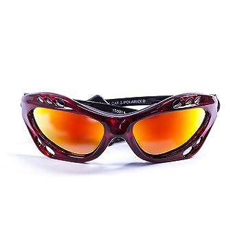 Ocean Sunglasses Sunglasses – Cumbuco – Gafas de Sol polarizadas – Montura: Rojo Transparente –