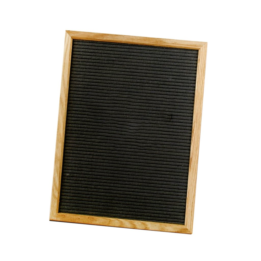 Homyl Wood Felt Letter Board – Oak Frame- for Family Messages, Kids Fun, Café Menus - Black