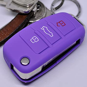 Key Soft Case Cover Estuche Protector de Llave para Auto para Audi A1 S1 A3 S3 A6 S6 R8 Q7 Llave Plegable Plegable Llave remota/Color: Púrpura: Amazon.es: Electrónica