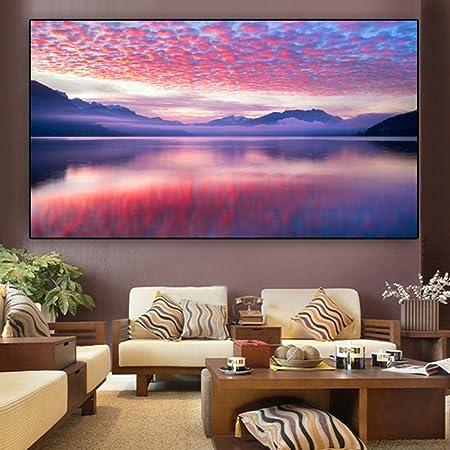 NIMCG Cartel Lienzo Pintura Paisaje montaña Nube Arte de la ...
