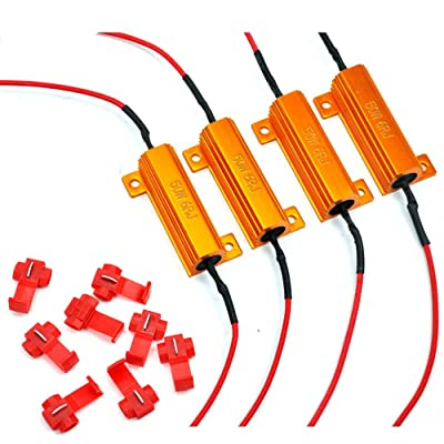 4 Pcs Eyourlife 50W 6ohm Load Resistors LED Turn Signal Indicator Lights for Fixing Hyperflash with Quick Wire Clips: Automotive
