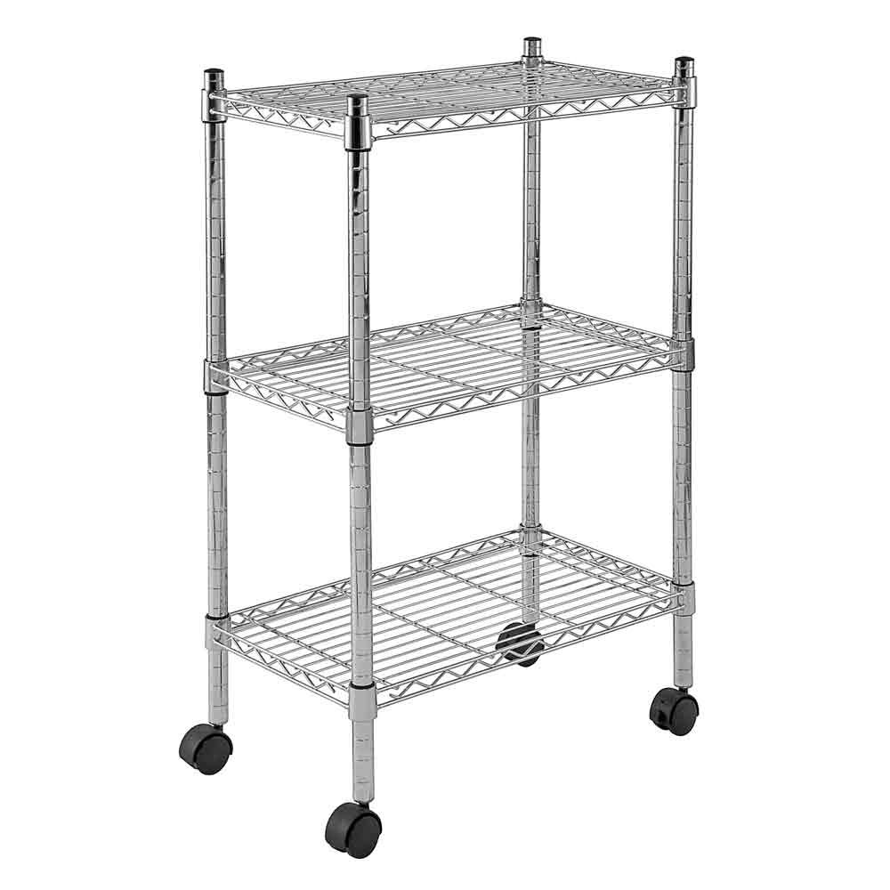 Sandusky MWS221333 3-Tier Mobile Wire Shelving Unit with 2'' Nylon Casters, 3 Wire Shelves, Chrome, 33'' Height x 22'' Width x 13'' Depth