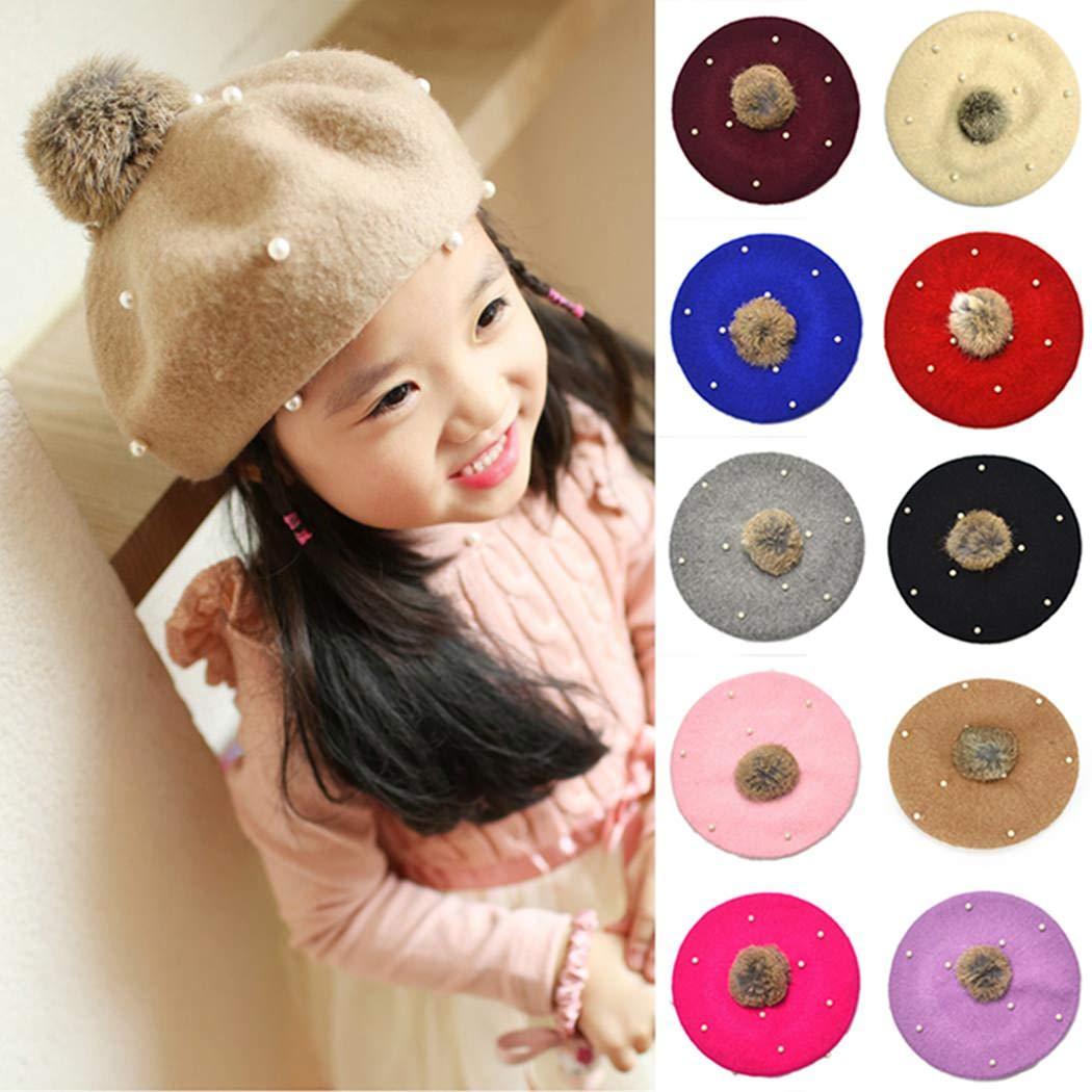 Baby Girls Winter Wool Beret Hat Pearl Cap Warm Vintage French Artist Beret Beanie Hat 3-6Years