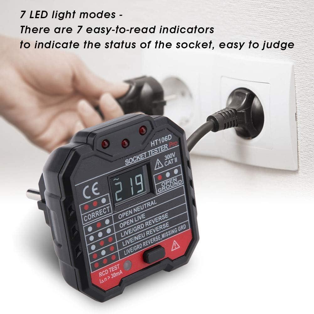 1.00V Tester de enchufes Medidor de enchufes el/éctricos con detector de fugas multifunci/ón con toma de pared para visualizaci/ón de la tensi/ón HT106B