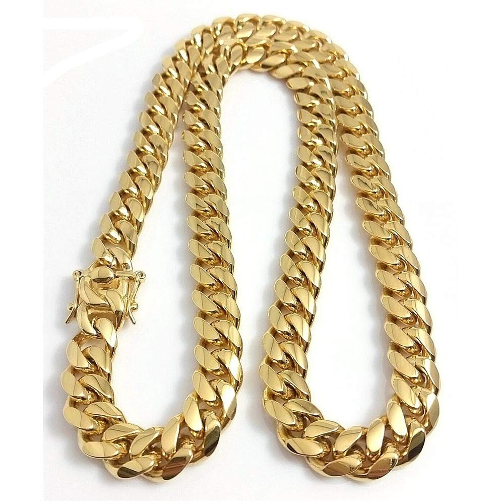 HUAYI Mens Fashion Jewelry Chain 18k Gold Plated Stainless Steel Miami Cuban Link Necklace and Bracelet Boys Hip hop Chain 8.26-35 inchs Multi-Color,35 inch