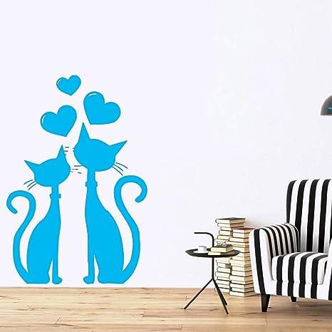 Etiqueta de la pared de la pareja de gatos en el corazón del amor ...