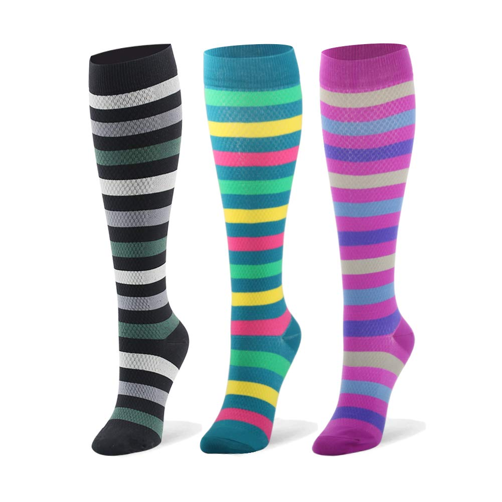 Compression Socks for Men & Women - 20-30mmHg 2 to 6 Pairs Compression Stockings for Runners, Edema (Large/X-Large, 3 Pairs, Stripe 2) by Fotociti