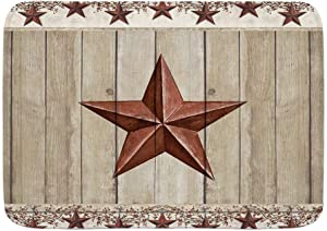 WINCAN Bath Mat Rug,Rustic Barn Star on Wooden Door Western Texas Star and Primitive Berries on Country Wooden Plank,Plush Bathroom Decor Mats with Non Slip Backing,29.5