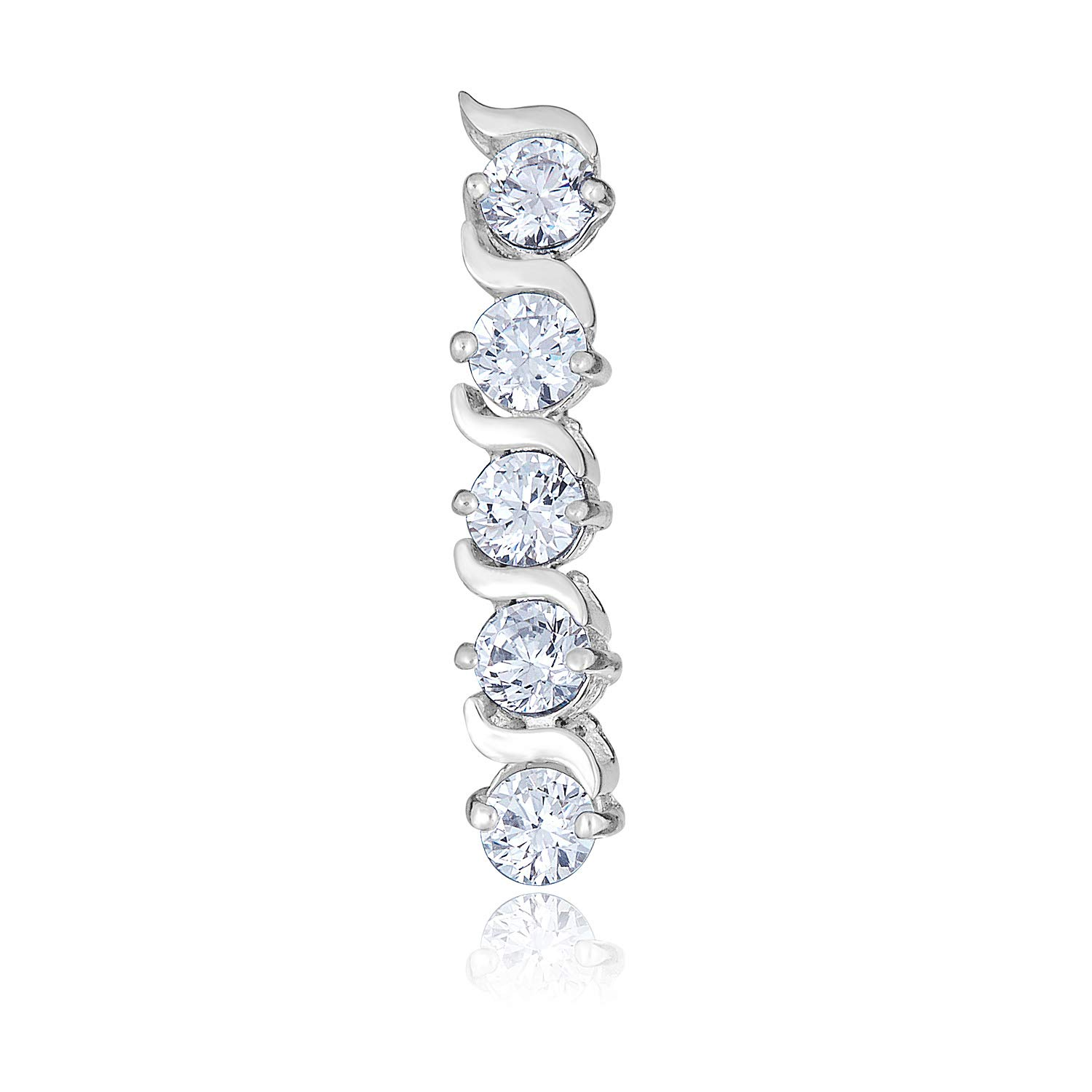 AVORA 10K White Gold Simulated Diamond CZ Linear Belly Button Ring Body Jewelry - 014 Gauge by AVORA