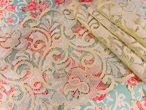 4 yards Ivory Stretch Soft Floral Lace 6