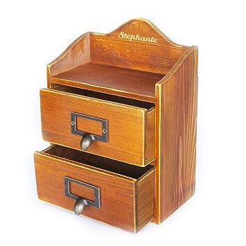 Personalised Wooden Desktop Organiser With Drawers Custom Vintage