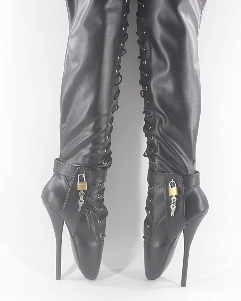 WONDERHEEL Damen Padlocks Padlocks Damen Over-Knee Ballett Stiefel - 9cdd59