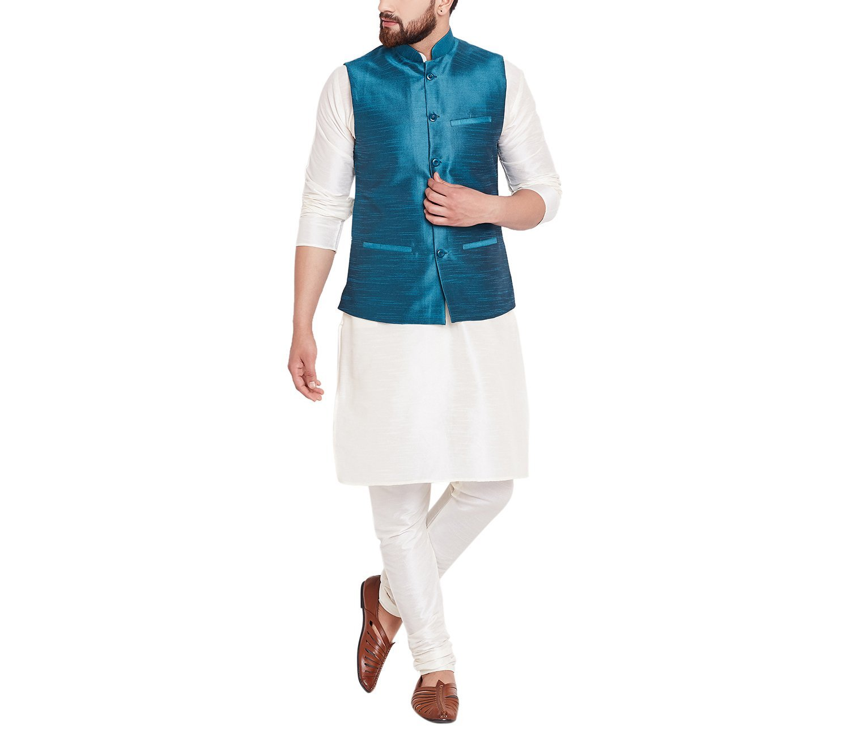 Sojanya Men's Dupion Silk Nehru Jacket Blue XX-Large Sea Green