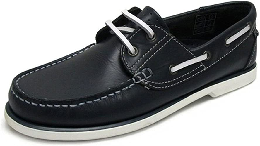New Mens Navy Leather Boat Shoes UK 11