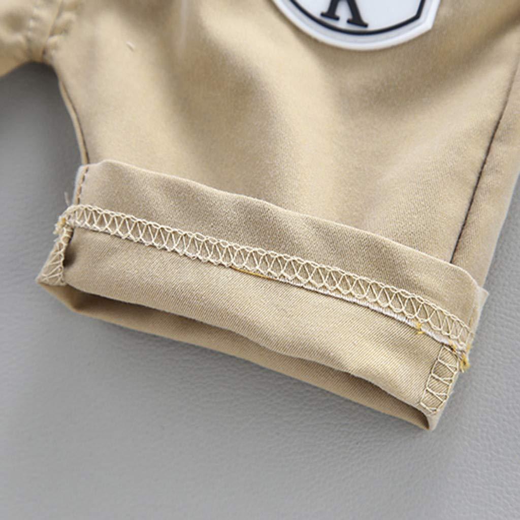 Letter Printed Short Pants 2Pcs Outfits Set Dinlong Toddler Baby Kids Boys Short Sleeve Colorful Stripe Tops Shirt