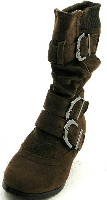 DEV Girls Toddlers Warm Winter Block Heel Buckle Fur Fasion Boots Shoes