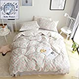 BuLuTu Floral Cotton Kids Girls Bedding Duvet Cover Set Twin Grey Reversible Garden Natural Flower Hotel 3 Pieces Bedding Sets For Teen (1 Duvet Cover + 2 Pillowcases) Zipper Closure,68