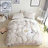 BuLuTu Floral Kids Girls Bedding Duvet Cover Set Queen Cotton Grey Reversible Garden Natural Flower Bedding Sets Full For Teens (1 Duvet cover + 2 Pillowcases) Zipper Closure With 4 Corner Ties