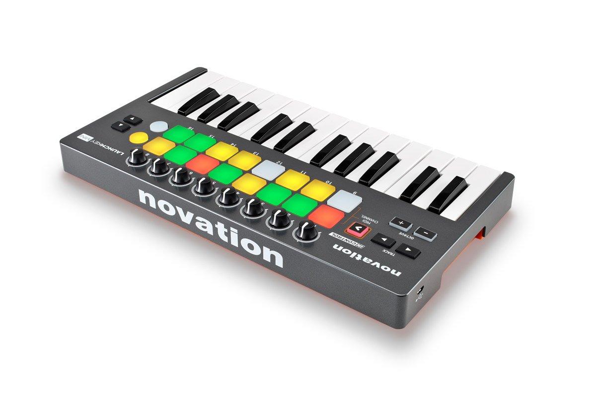 Novation NOVLKMIN Launchkey 25-Key Mini Compact Instrument and USB MIDI Controller Keyboard for iPad, Mac and PC,Gray