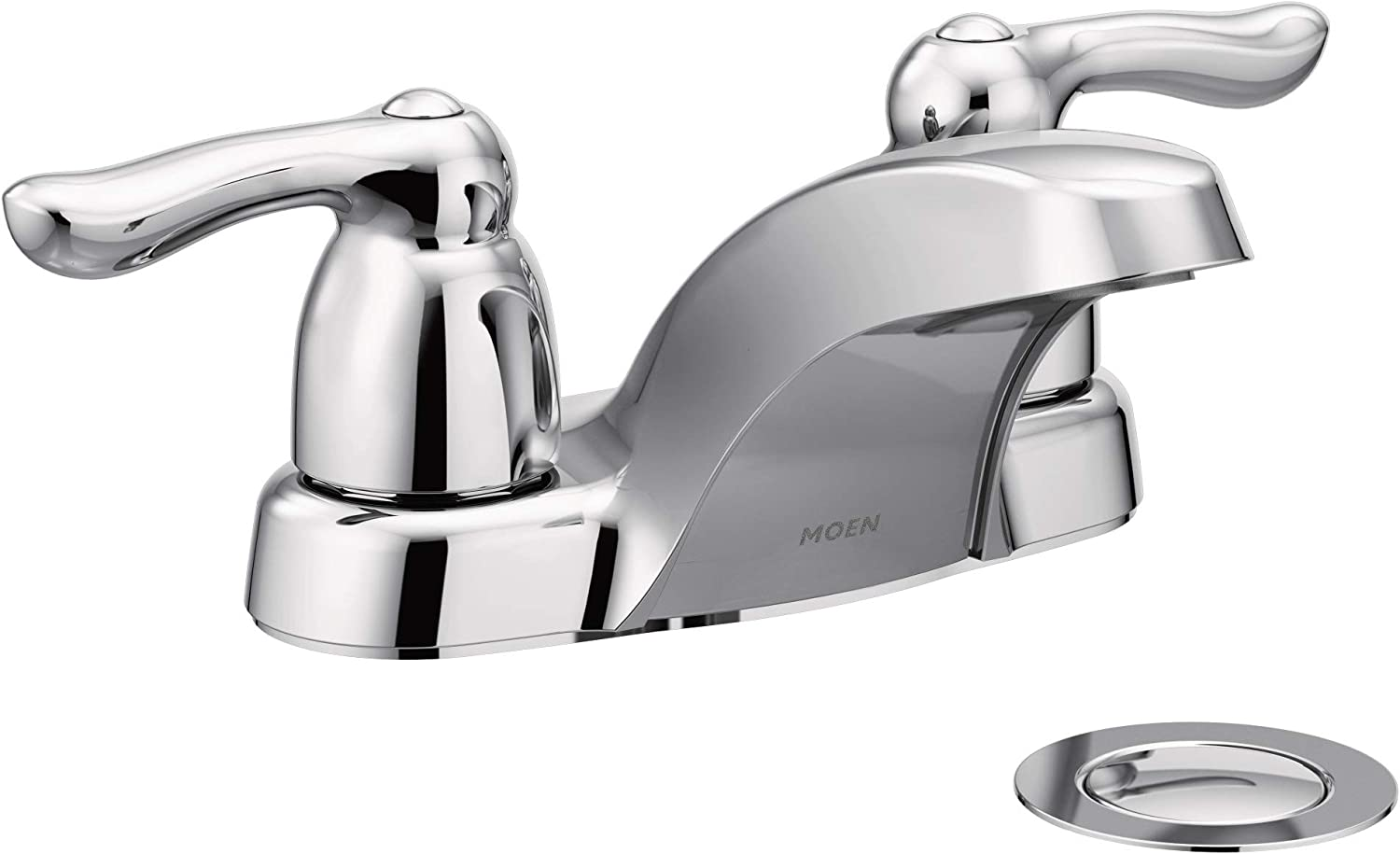Brushed Chrome Moen 4925BC Chateau Two-Handle Low Arc Bathroom Faucet