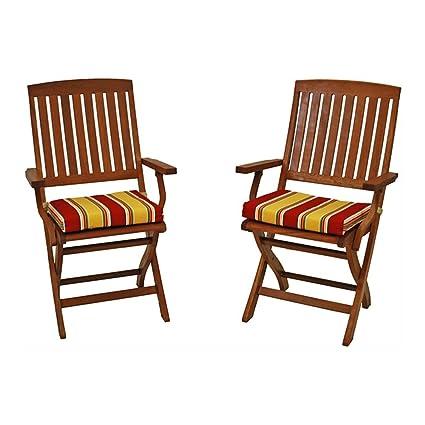 Merveilleux Blazing Needles Outdoor Folding Chair Cushion   17.5 X 15 In.   Set Of 2
