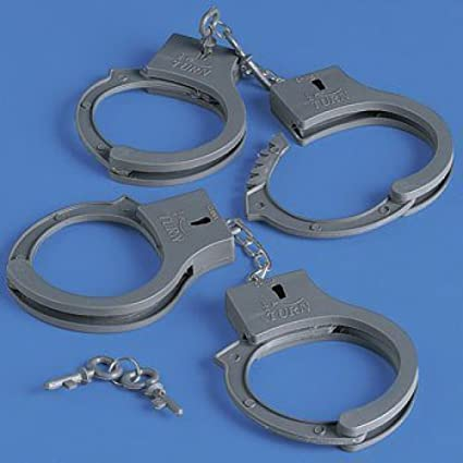 Handcuffing Little Kids May Not Be >> Amazon Com 12 Handcuffs With Keys Novelty Toys Magic Gag