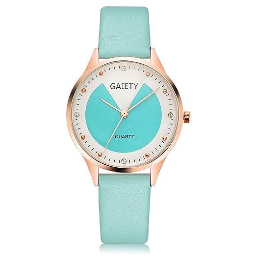 Reloj para Mujer, Banda de Cuero Causal de Pulsera de Cuarzo Reloj de Pulsera clásico para Mujer Relojes Casuales de Cuarzo Correa de Acero Inoxidable Reloj ...