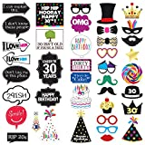 30th Birthday Photo Booth Party Props - 40 Pieces - Funny 30th Birthday Party Supplies, Decorations and Favors