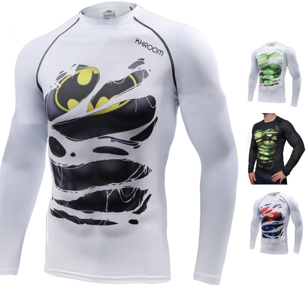 Course Musculation Khroom T-Shirt de Compression de Super-h/éros pour Homme Mat/ériel Extensible et Ventil/é Anti Transpiration V/êtement Sportif /à S/échage Rapide pour Fitness Gym