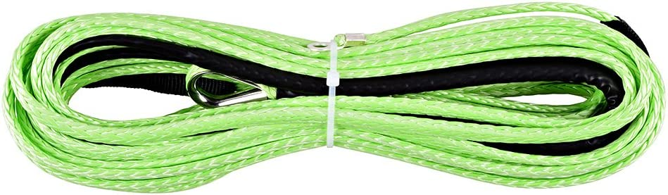 Green 3//16inch*50ft ATV UTV winch line synthetic winch rope cable with thimble