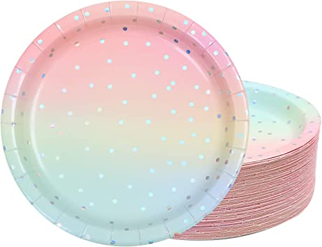 MAXLOOP 50pcs Party Plates Paper Plates Party Disposable Paper Plates Party Tableware for Party Wedding Anniversary Birthday 7inch and 9 inch