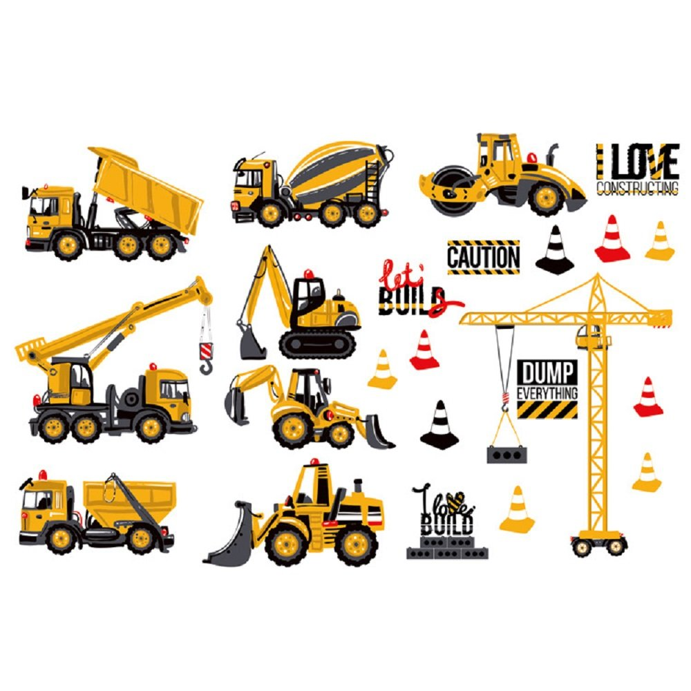 Amaonm Creative Cartoon Cute DIY Engineering Vehicles Wall Stickers Cranes, Forklifts, Road Vehicles, Mud Tankers, Construction Site Wall Decal for Kids Babys Room Nursery Children Decor F061