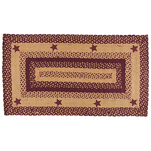 "IHF Home Decor Star Wine | Braided Area Rug Rectangle Handcrafted Reversible for Livingroom Bedroom Kitchen Porch | 100% Natural Jute Material Doormat | Accent Floor Carpet - 20"" x 30"""