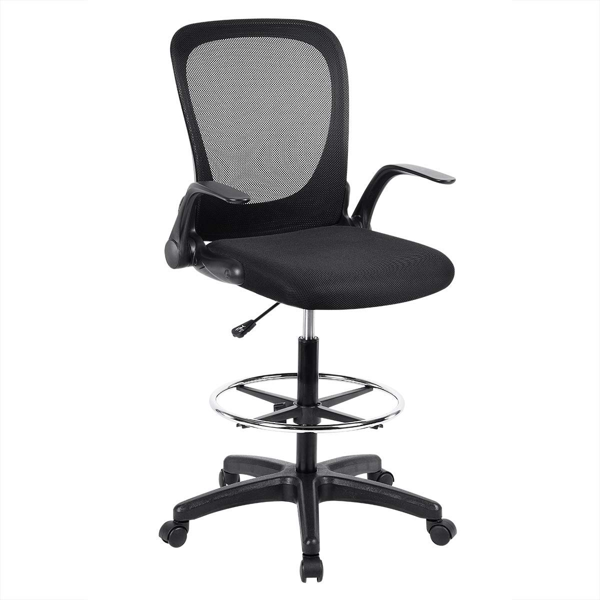 Ulikit Ergonomic Black Mesh Drafting Chair, Office Adjustable Chair Drafting Stool with Adjustable Foot Rest with Arm