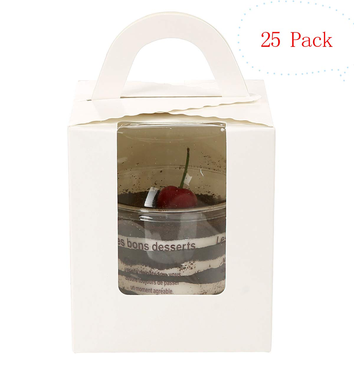 25 Pack Portable Cupcake Boxes Containers With PVC Window Candy Box