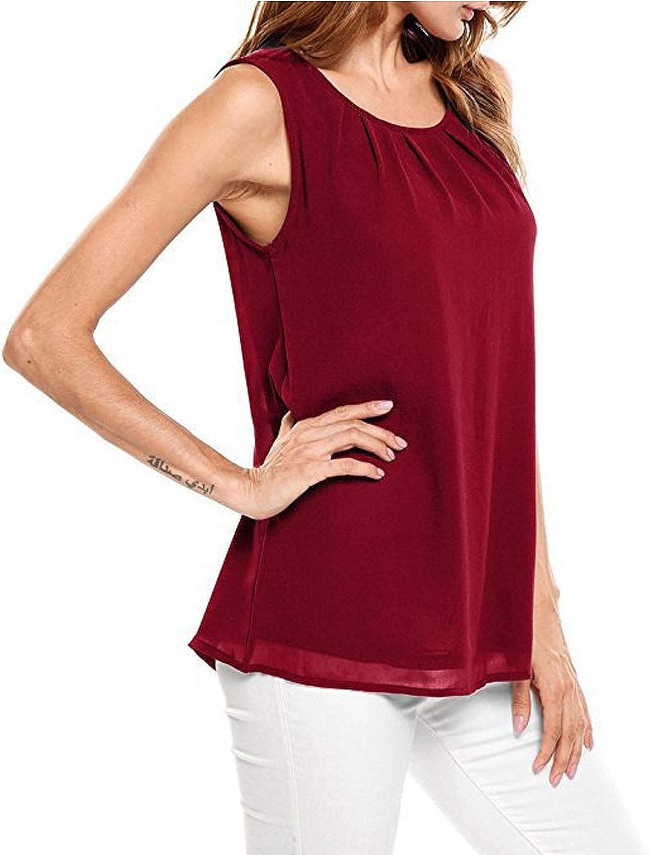 Shetao Round Neck Solid Color Double Sleeveless Chiffon T-Shirt