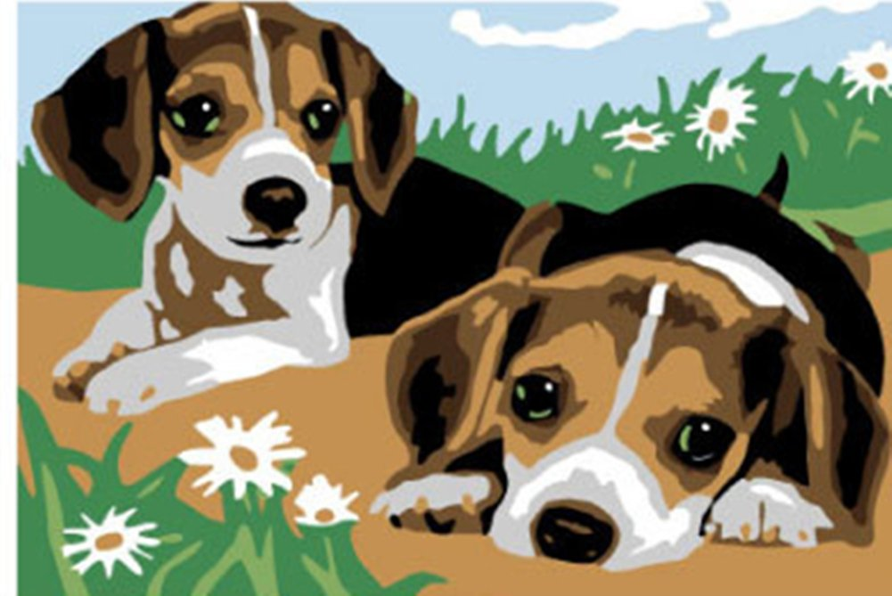 YEESAM ART New Paint by Numbers for Kids or Adults Beginner - Two Dogs 20X30cm