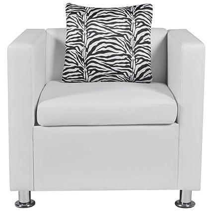 Amazon.com: Tidyard Office Leather Cube Armchair Sofa Chair ...