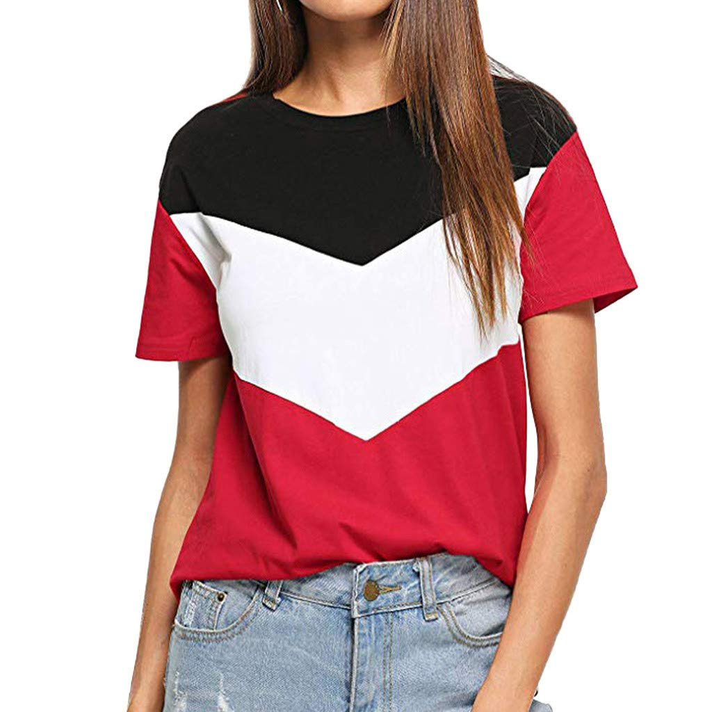 Women's Tops Short Sleeve Tunic Shirts Slim Color Block T Shirts Loose Fit Tee Pullover Blouse Red