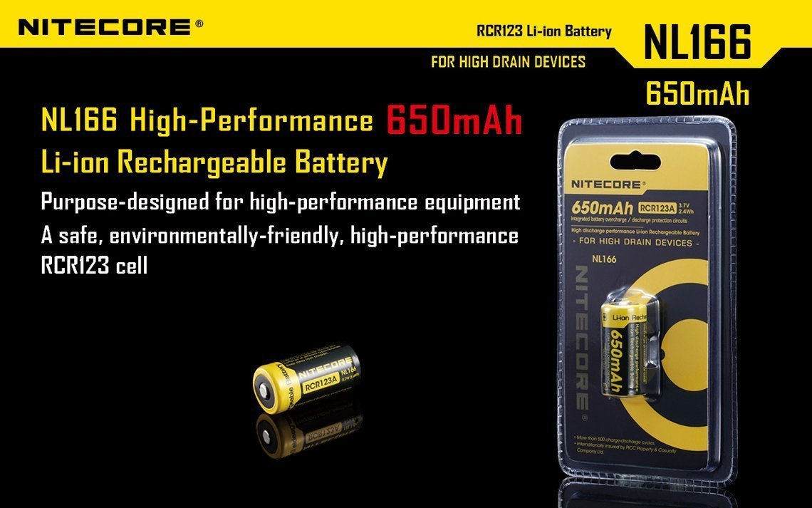 Bundle 8 Pack Nitecore NL166 RCR123A 3.7V 650mA 2.4Wh Protected Li-ion 650mAh 16340 Rechargeable Batteries with EdisonBright USB powered LED reading light by EdisonBright (Image #2)