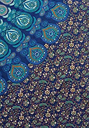 Popular Handicrafts Queen Hippie Mandala Bohemian Psychedelic Intricate Floral Design Indian Bedspread Magical Thinking Tapestry 84x90 Inches,(215x230cms) Blue Turquish