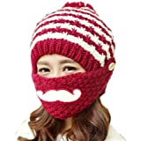 cbecd635622 Alexstudio Women s Fashion Women Girl Warm Winter Knitted Hats Outdoor Mask  Cap (Wine Red)