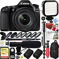 Canon EOS 80D 24.2 MP CMOS Digital SLR Camera w/ EF-S 18-135mm f/3.5-5.6 IS USM Lens (1263C006) with 128GB SDXC Dual Battery & Shotgun Mic Pro Mobile Video Bundle