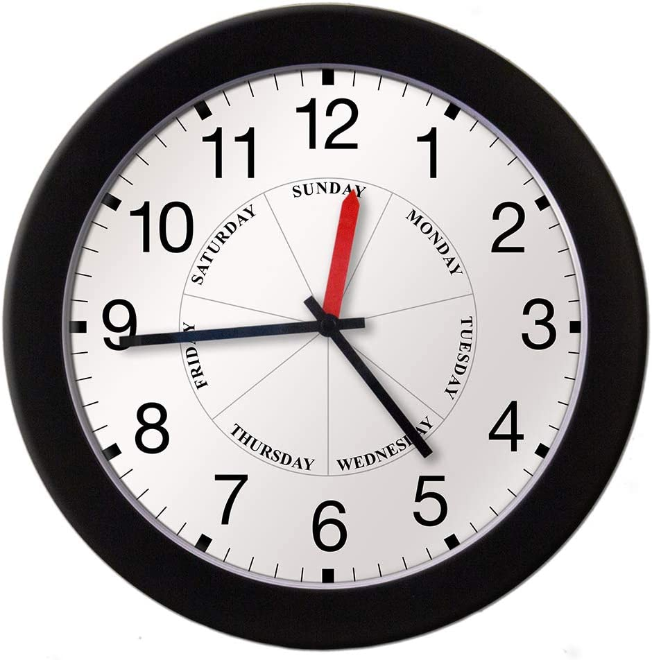 DayClocks Time & Day of the Week Wall Clock – Analog Clock with Time & Days of the Week – Home or Office Wall Clock With Days of the Week – Great Retirement Clock - 12